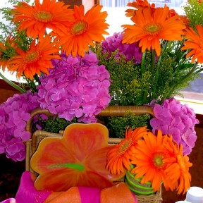 Pink, Orange, Green