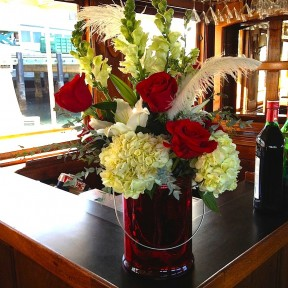 Red & White Bar Flowers
